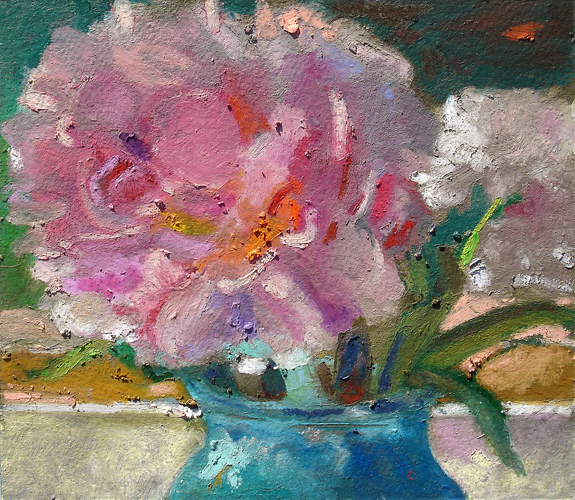 Peonies in a Blue Vase<br />oil pastel on paper<br />8 x 8 inches
