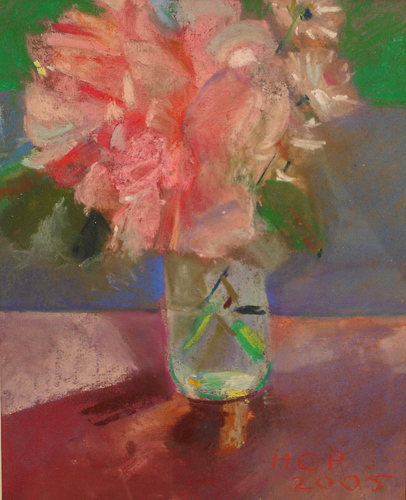 Peonies in a Jar<br />pastel on paper<br />12 x 15 inches