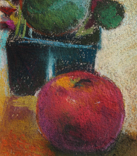 Begonias and Apple<br />pastel on paper<br />8 x 10 inches